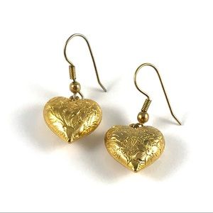 Beautiful Vintage Floral Design Heart Earrings